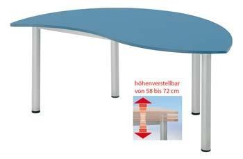 halbrunder Wellentisch - höhenverstellbar 58 - 72 cm