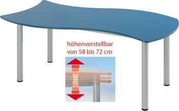 Wellen Rechtecktisch, höhenverstellbar 58 - 72 cm
