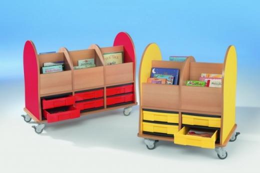 Bücherwagen mit 4 flachen InBoxen