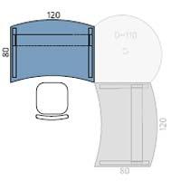 Arbeitstisch mit Bogenkanten und C-Fußgestell