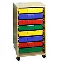 Materialcontainer mit 8 flachen Kunststoffschüben