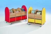 Bücherwagen mit 3 großen InBoxen