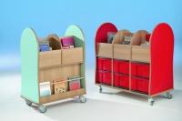 Bücherwagen mit 6 großen InBoxen
