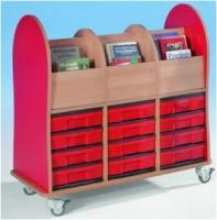 Bücherwagen mit 12 flachen InBoxen