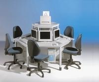 Computerinsel für 6 Arbeitsplätze mit Melaminplatte