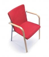 Konferenzstuhl mit Armlehnen aus Holz/ B1 schwer entflammbar